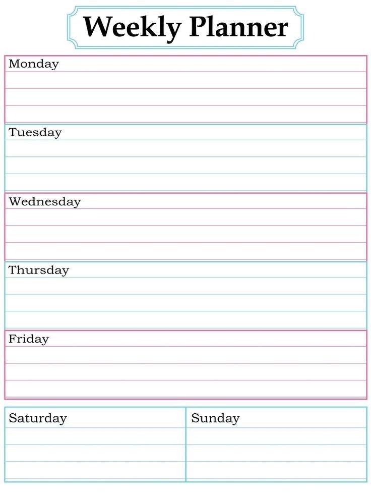 Blank Weekly Calendar Template Best 25 Weekly Calendar Template Ideas On Pinterest