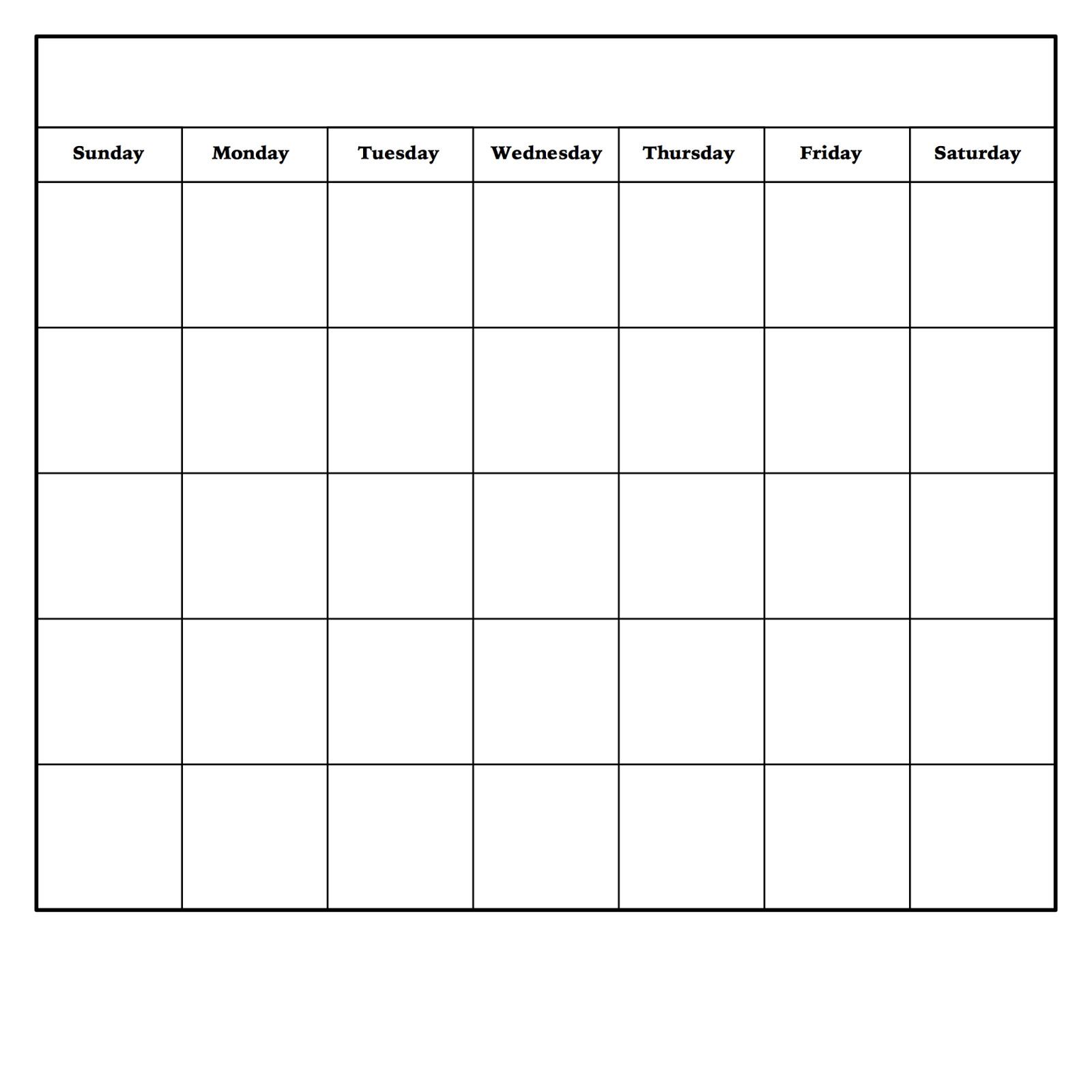 Blank Weekly Calendar Template Diy Dry Erase Calendar