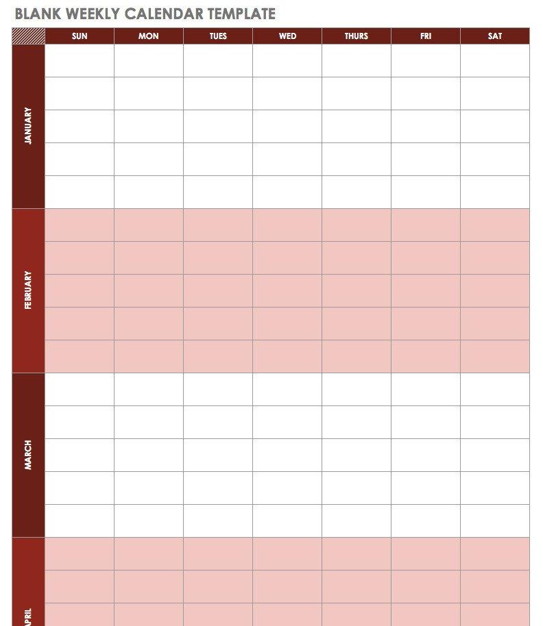 Blank Weekly Calendar Template Free Excel Calendar Templates