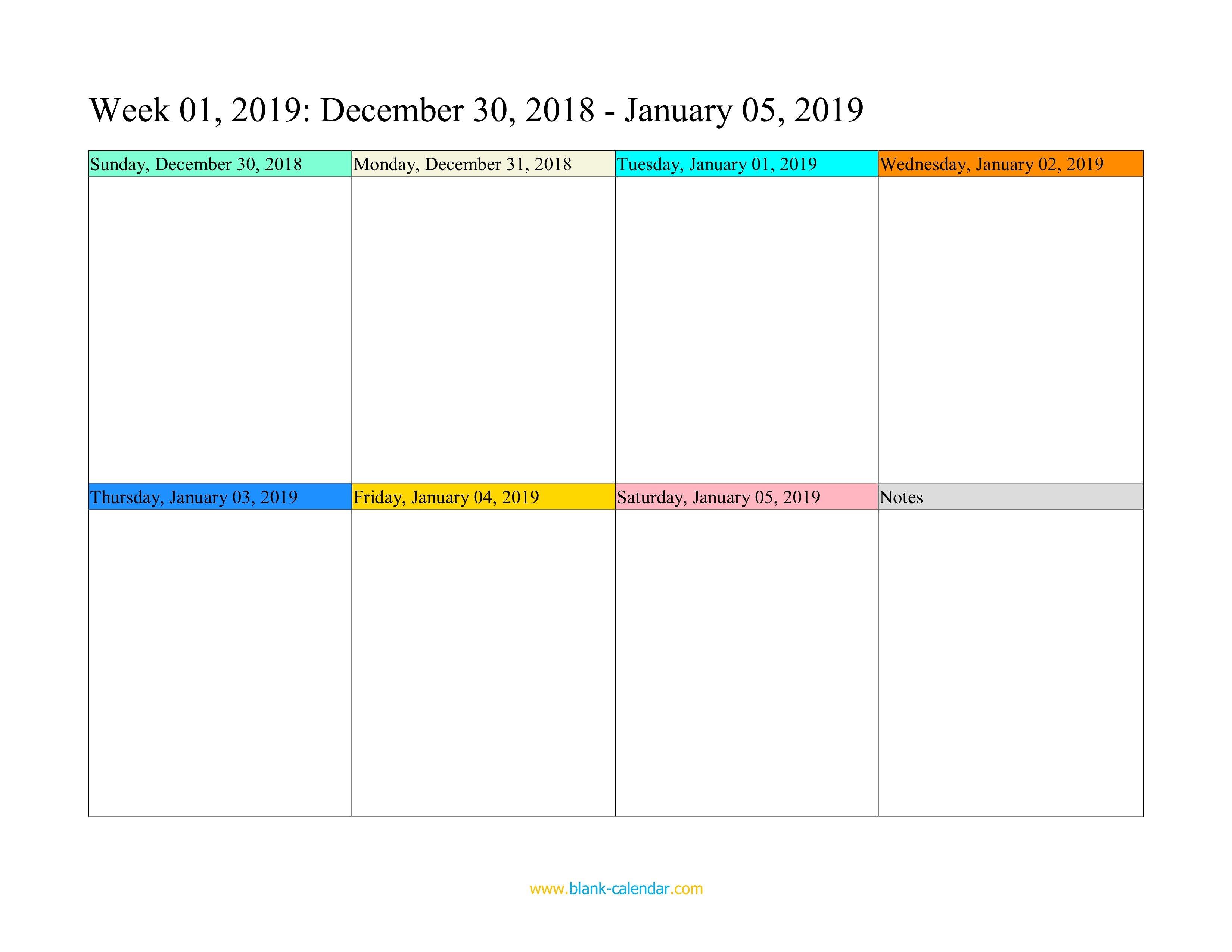 Blank Weekly Calendar Template Weekly Calendar 2019 Word Excel Pdf