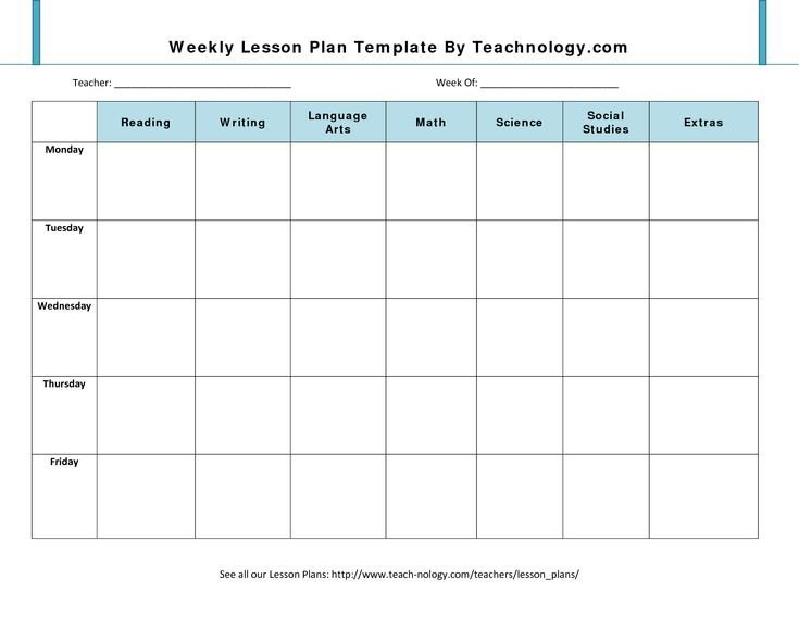 Blank Weekly Lesson Plan Template Blank Lesson Plan Template