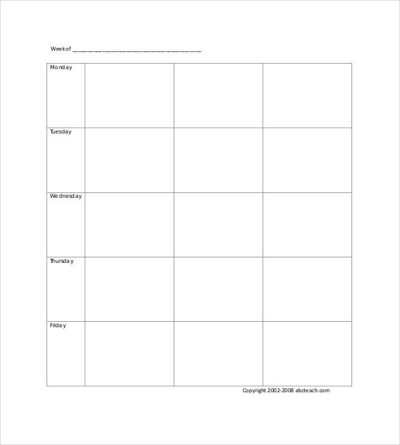Blank Weekly Lesson Plan Template Blank Template – 24 Free Word Excel Pdf Psd Eps
