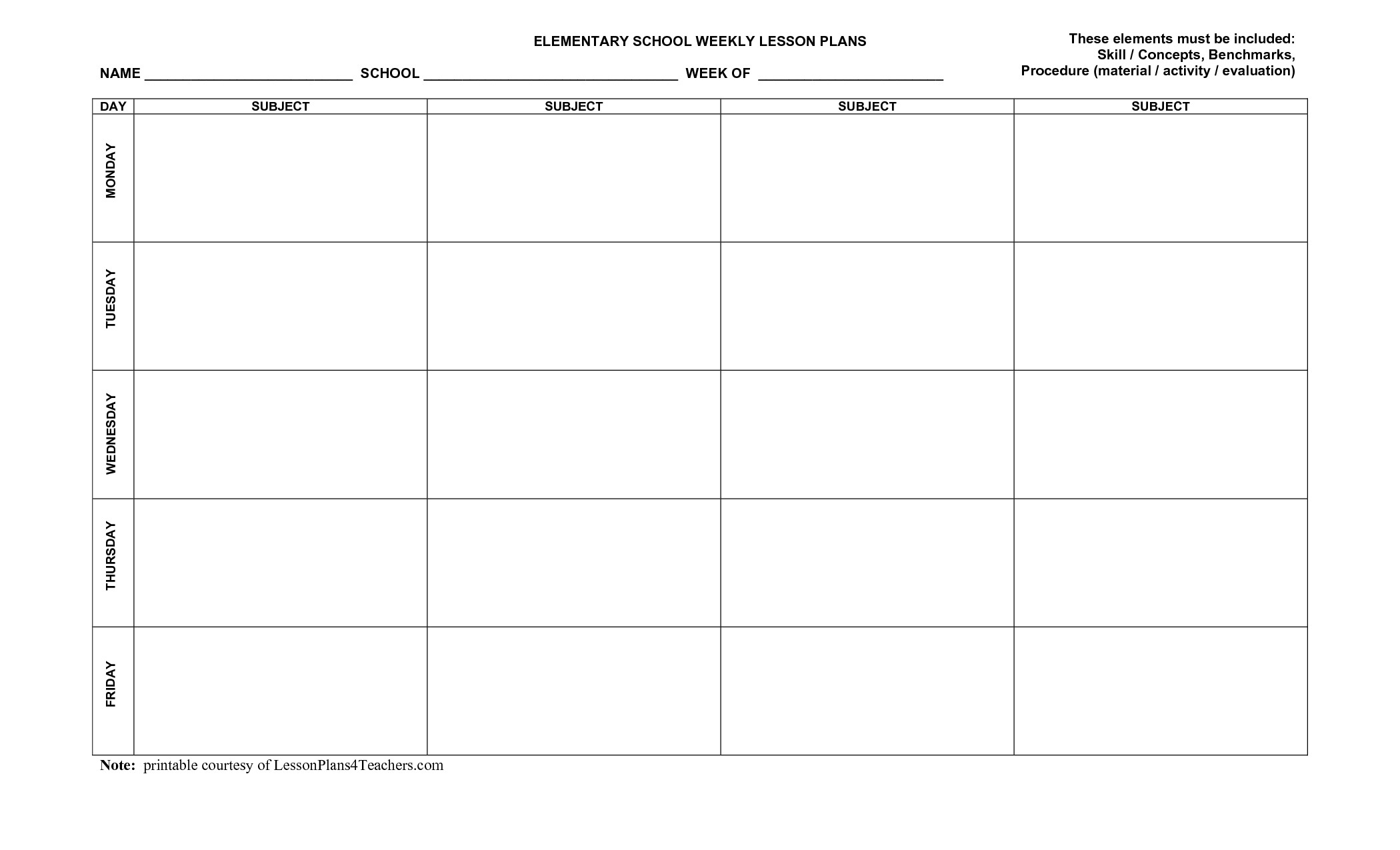 Blank Weekly Lesson Plan Template Blank Weekly Lesson Plan Templates Mqfotfas