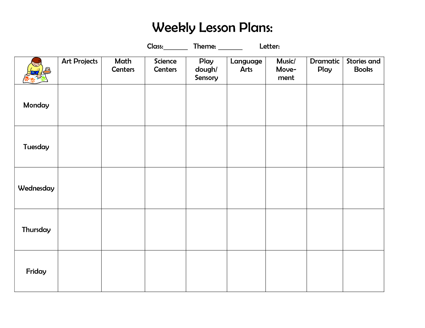 Blank Weekly Lesson Plan Template Infant Blank Lesson Plan Sheets