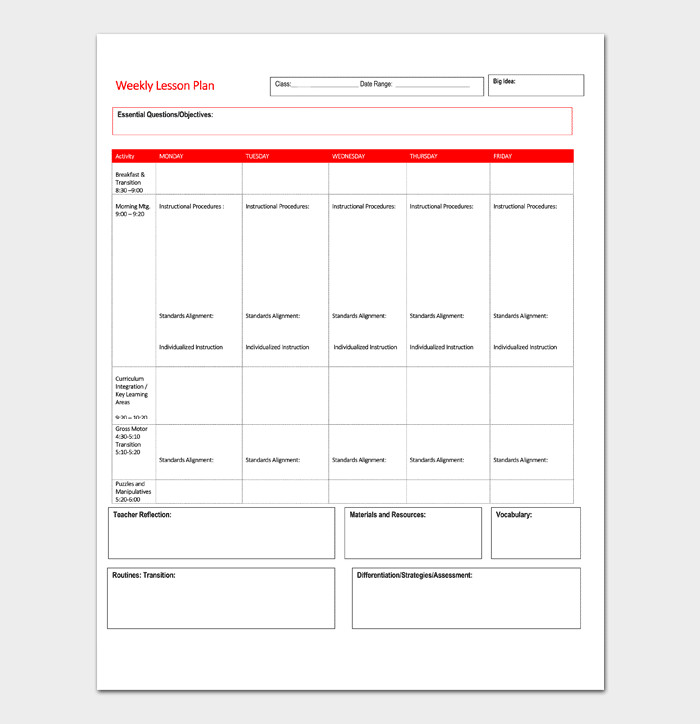 Blank Weekly Lesson Plan Template Lesson Plan Template 5 Daily Weekly Monthly for Word