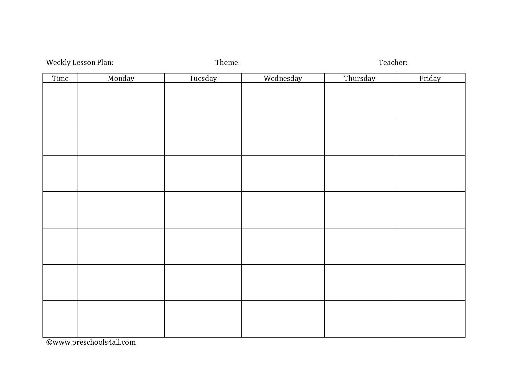 Blank Weekly Lesson Plan Template Preschool Lesson Plan Template Lesson Plan Book Template
