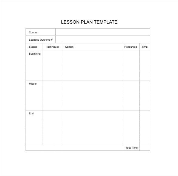 Blank Weekly Lesson Plan Template Sample Blank Lesson Plan 10 Documents In Pdf