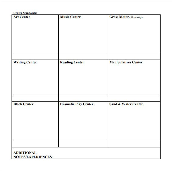 Blank Weekly Lesson Plan Template Sample toddler Lesson Plan 9 Example format