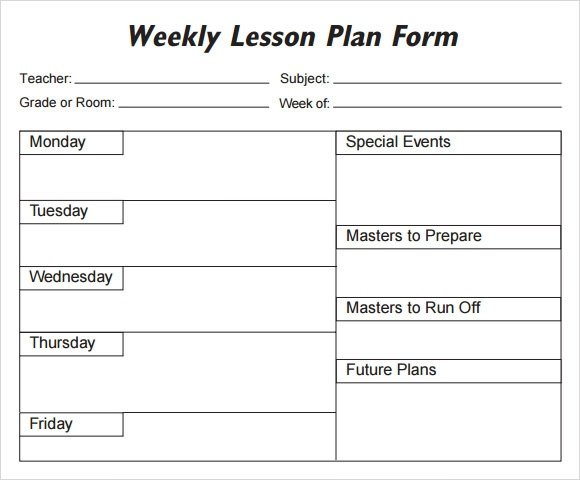 Blank Weekly Lesson Plan Template Weekly Lesson Plan 8 Free Download for Word Excel Pdf