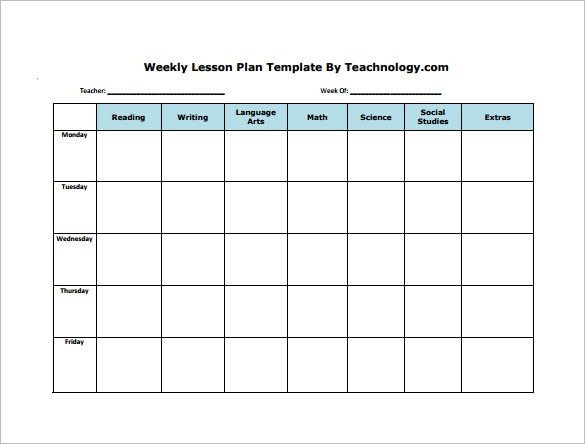 Blank Weekly Lesson Plan Template Weekly Lesson Plan Template