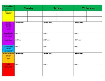 Blank Weekly Lesson Plan Template Weekly Primary Blank Lesson Plan Template by Kickin