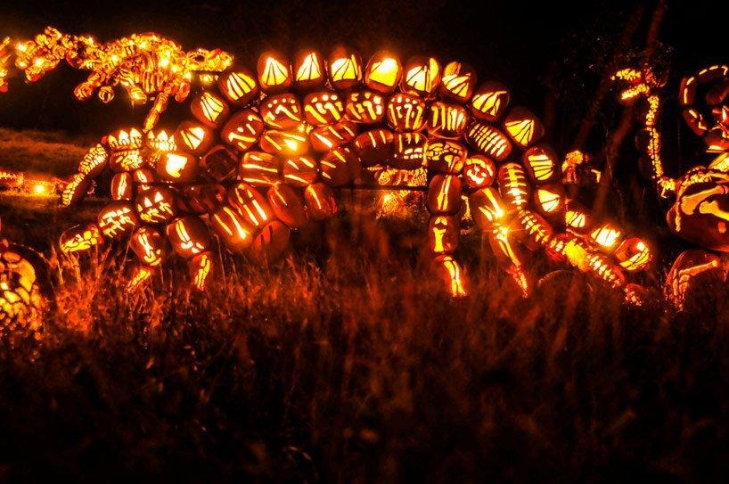 Blaze Pumpkin Carving Mammoth Pumpkin Carvings at the Great Jack O Lantern Blaze