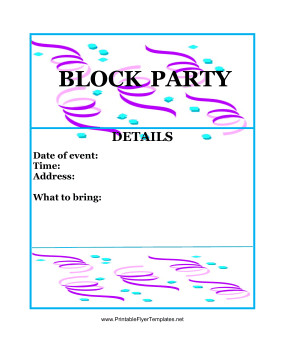 Block Party Flyer Templates Block Party Flyer Color