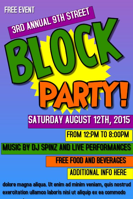 Block Party Flyer Templates Block Party Template