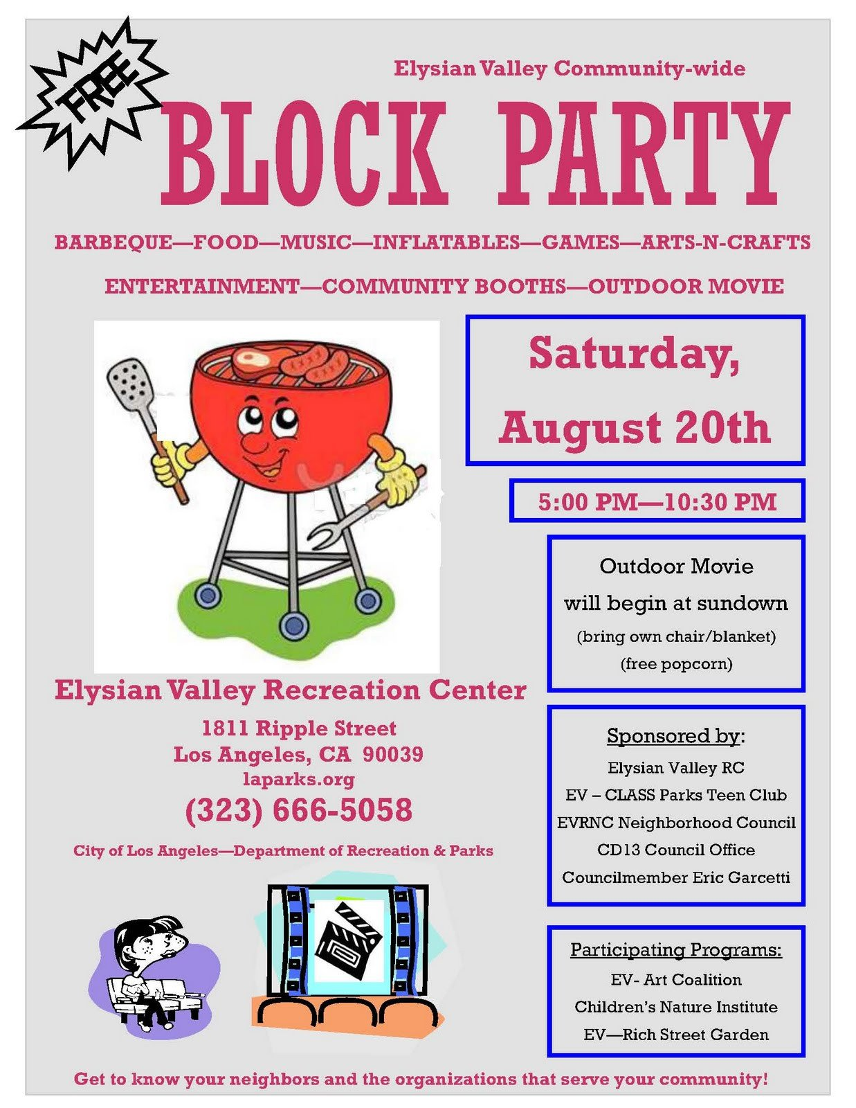Block Party Flyer Templates Lacityorgcd13 Elysian Valley Block Party On August 20