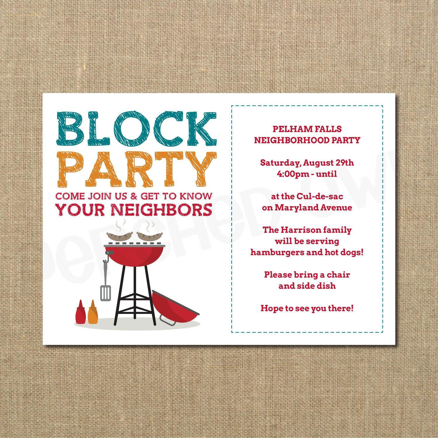 Block Party Flyer Templates Neighborhood Block Party Cookout Invitation Grilling Out