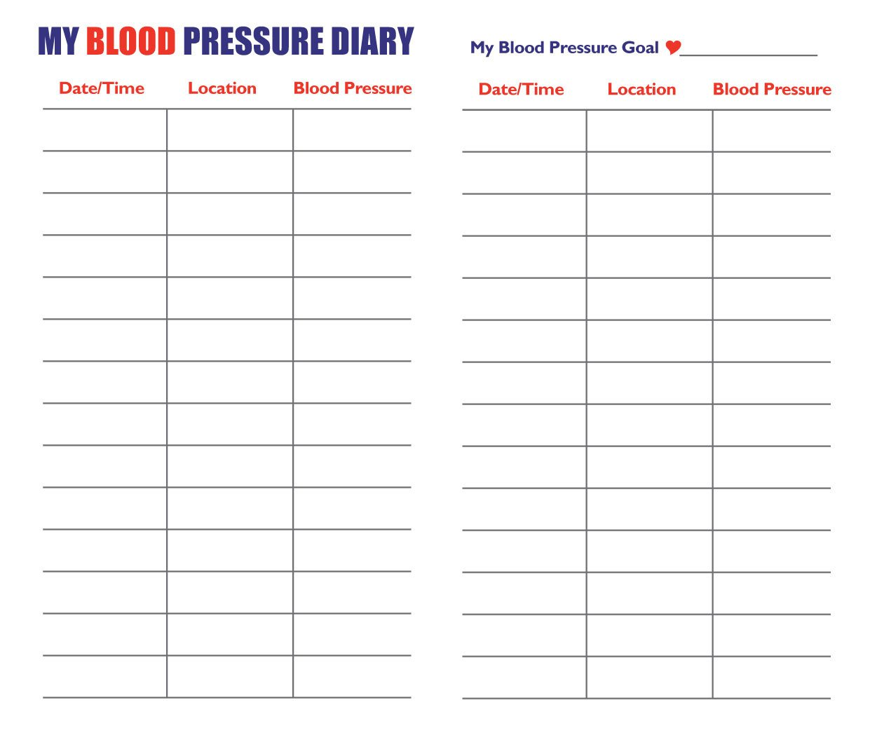 Blood Pressure Log Printable 7 Best Of Blood Pressure Log Pdf Printable