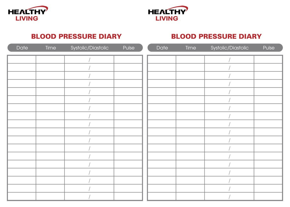 Blood Pressure Log Printable Blood Pressure Chart
