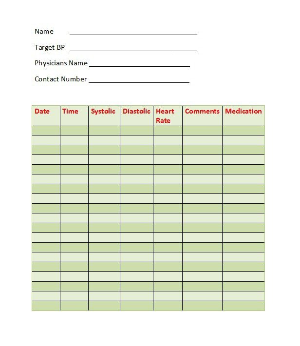 Blood Pressure Logs Template 30 Printable Blood Pressure Log Templates Template Lab