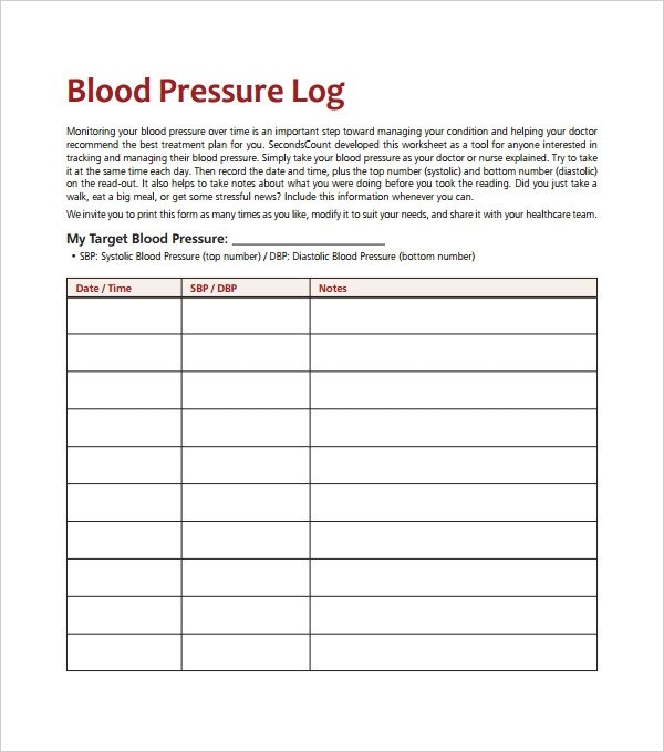 Blood Pressure Logs Template Blood Pressure Log Template – 10 Free Word Excel Pdf