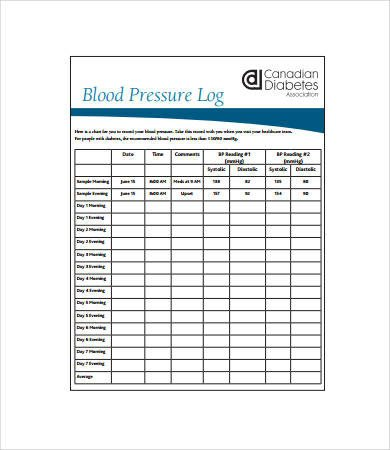 Blood Pressure Logs Template Sample Blood Pressure Log 7 Free Pdf Download Documents