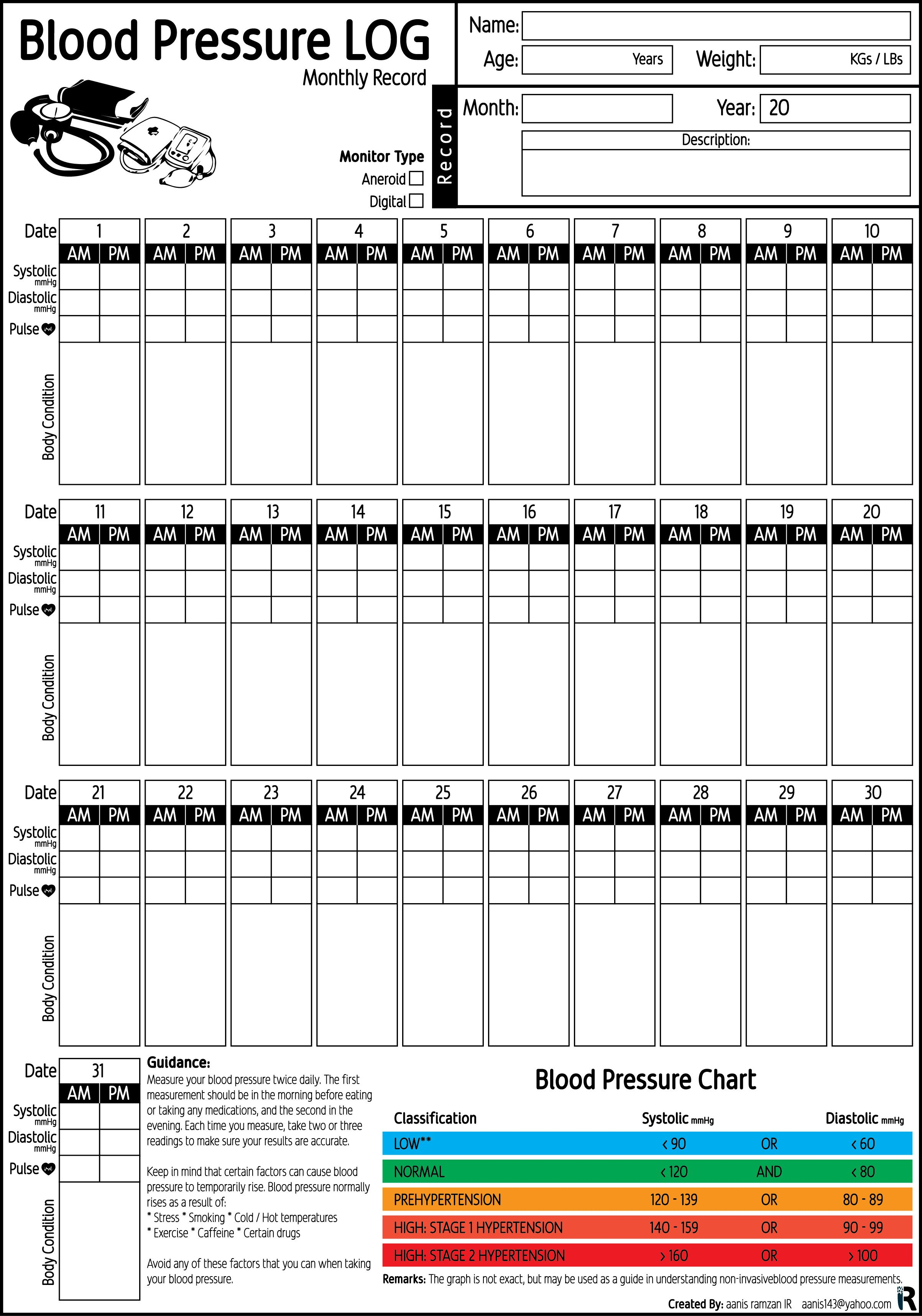 Blood Pressure Recording Chart Blood Pressure Log Monthly Record Pdf Printable by Aanis