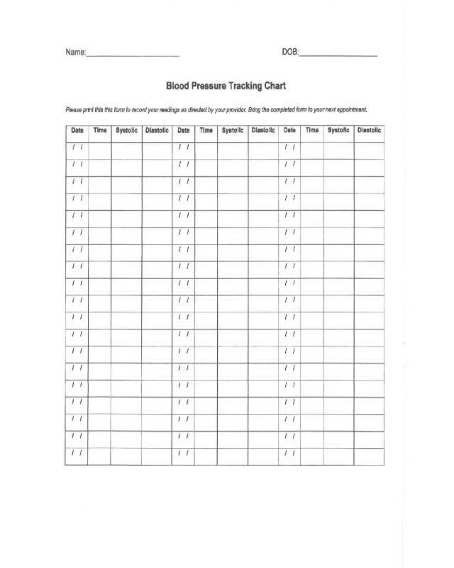 Blood Pressure Tracking Chart 2019 Blood Pressure Log Chart Fillable Printable Pdf