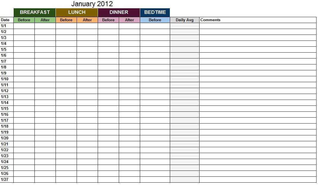 Blood Sugar Log Excel Blood Sugar Log Template Sample