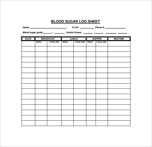 Blood Sugar Log Excel Sample Blood Sugar Log Template 8 Free Documents In Pdf