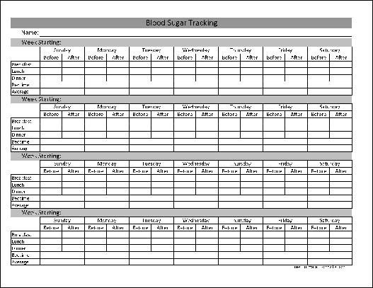 Blood Sugar Log Excel Type 1 2 Diabetes Blood Sugar Log Excel