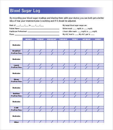 Blood Sugar Log Template Blood Sugar Log 7 Free Word Excel Pdf Documents
