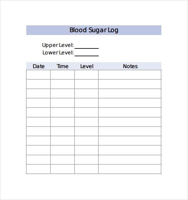 Blood Sugar Log Template Sample Blood Sugar Log Template 8 Free Documents In Pdf