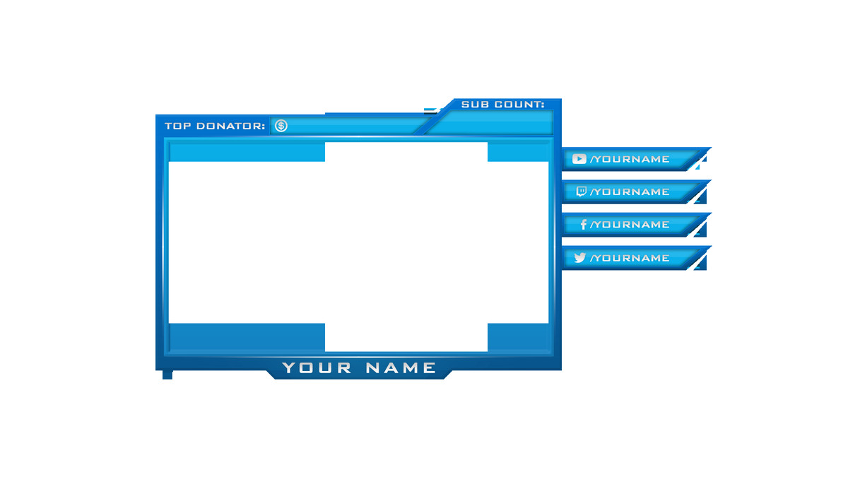 Blue Facecam Border thebrownfaminaz Facecam Overlay Maker
