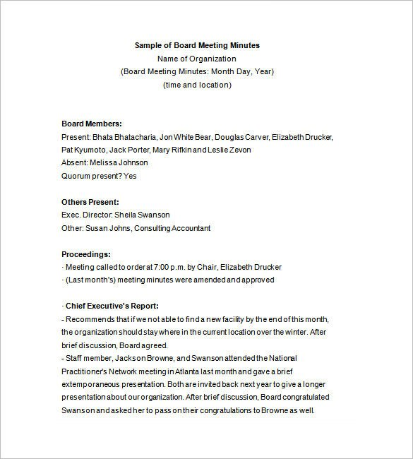 Board Meeting Minutes Templates 15 Board Meeting Minutes Templates Google Docs Pdf