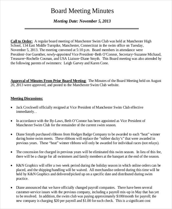 Board Meeting Minutes Templates 16 Board Minutes Templates Example Word Apple Pages