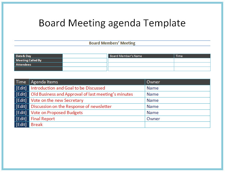 Board Meeting Minutes Templates Board Meeting Agenda Template Easy Agendas