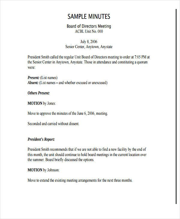 Board Meeting Minutes Templates Board Meeting Minutes Template Nonprofit Templates