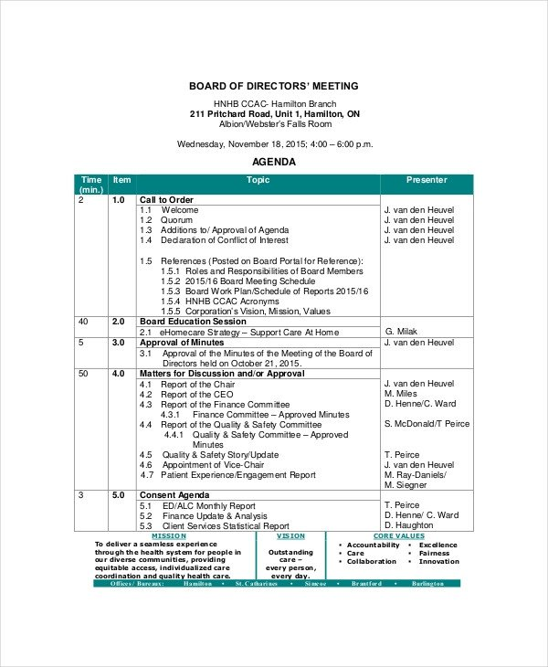 Board Meeting Minutes Templates Board Of Directors Meeting Agenda Template – 8 Free Word