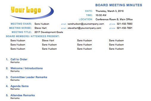 Board Meeting Minutes Templates Free Meeting Minutes Templates Instructions