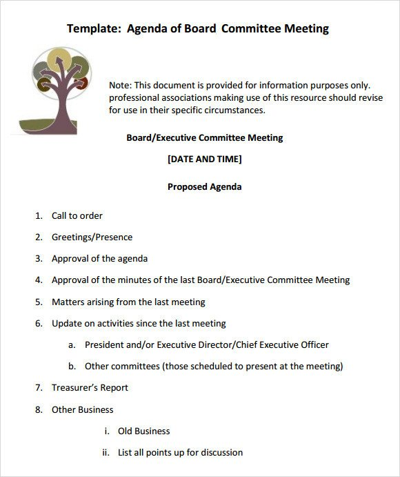 Board Meeting Minutes Templates Sample Board Meeting Agenda Template 11 Free Documents