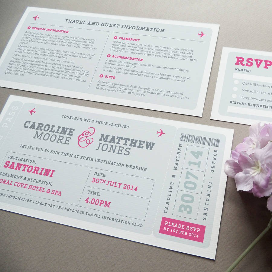 Boarding Pass Wedding Invitations Airline Boarding Pass Wedding Invitation by Project Pretty