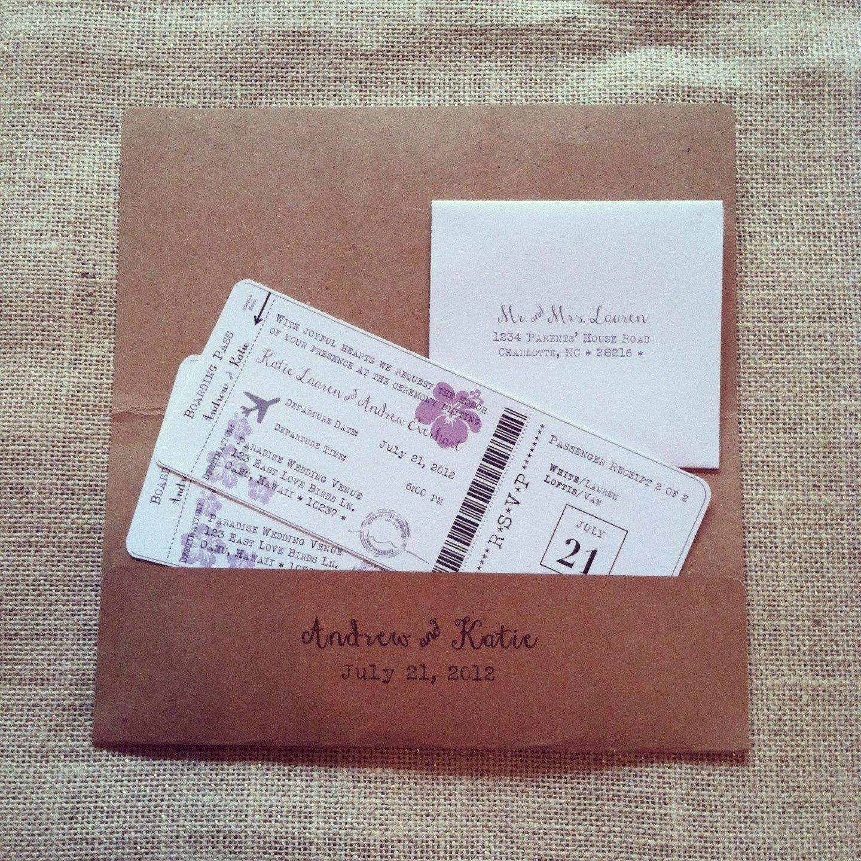Boarding Pass Wedding Invitations Boarding Pass Destination Wedding Invitation Set by