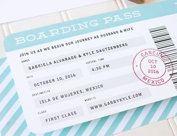 Boarding Pass Wedding Invitations Boarding Pass Wedding Invitation Destination by Paperandparcel