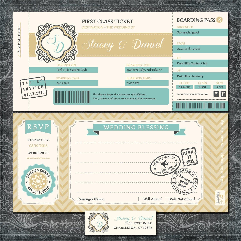 Boarding Pass Wedding Invitations Boarding Pass Wedding Invitations Gold and Blue Travel