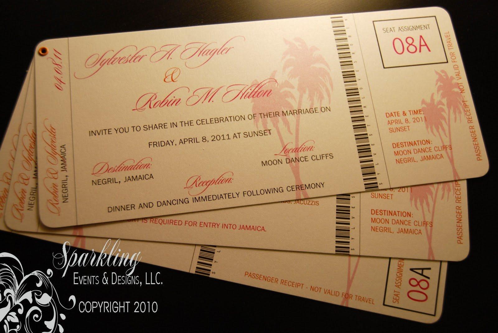 Boarding Pass Wedding Invitations Boarding Pass Wedding Invitations Sparkling events & Designs