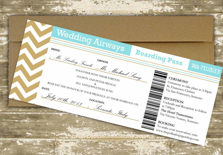 Boarding Pass Wedding Invitations Destination Wedding Invitation Boarding Pass Wedding