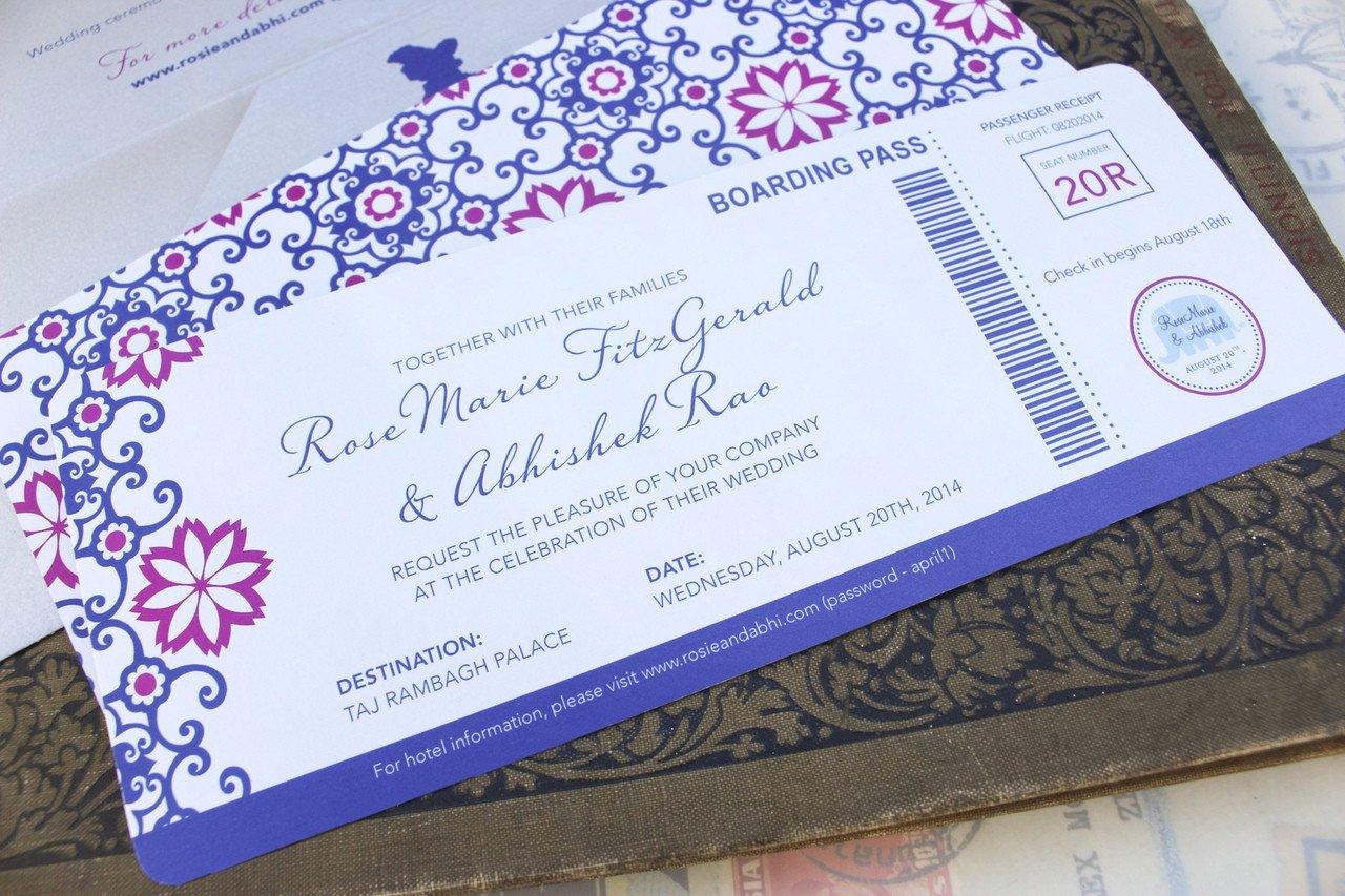 Boarding Pass Wedding Invitations Modern Moroccan Boarding Pass Wedding Invitation India