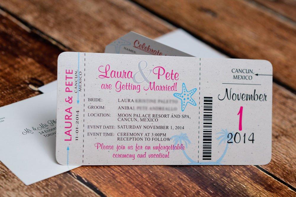 Boarding Pass Wedding Invitations Neon Boarding Pass Wedding Invitations to Moon Palace