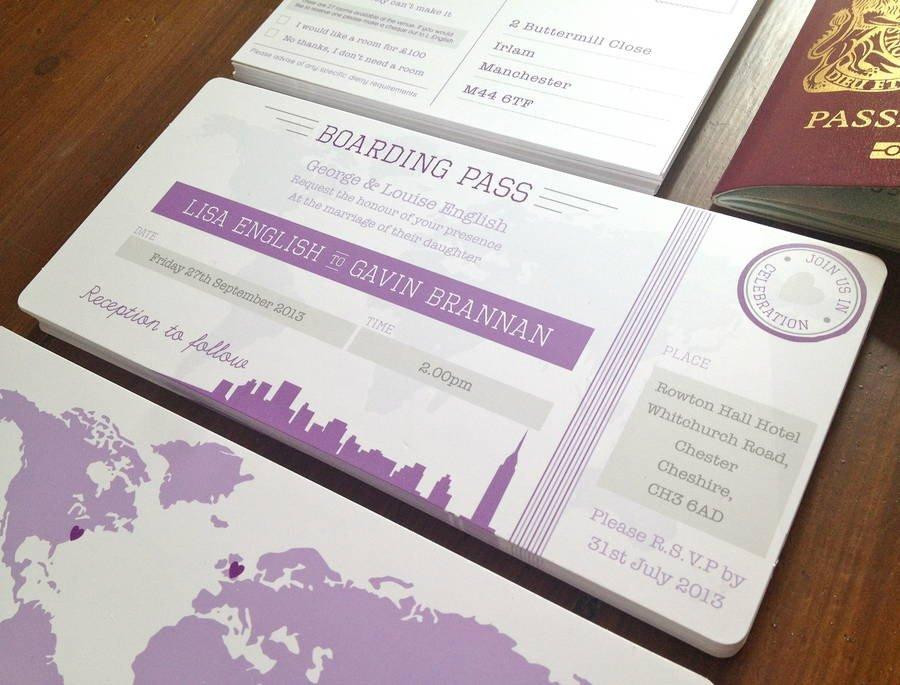 Boarding Pass Wedding Invitations New York Boarding Pass Wedding Invitation Bundle by Rodo