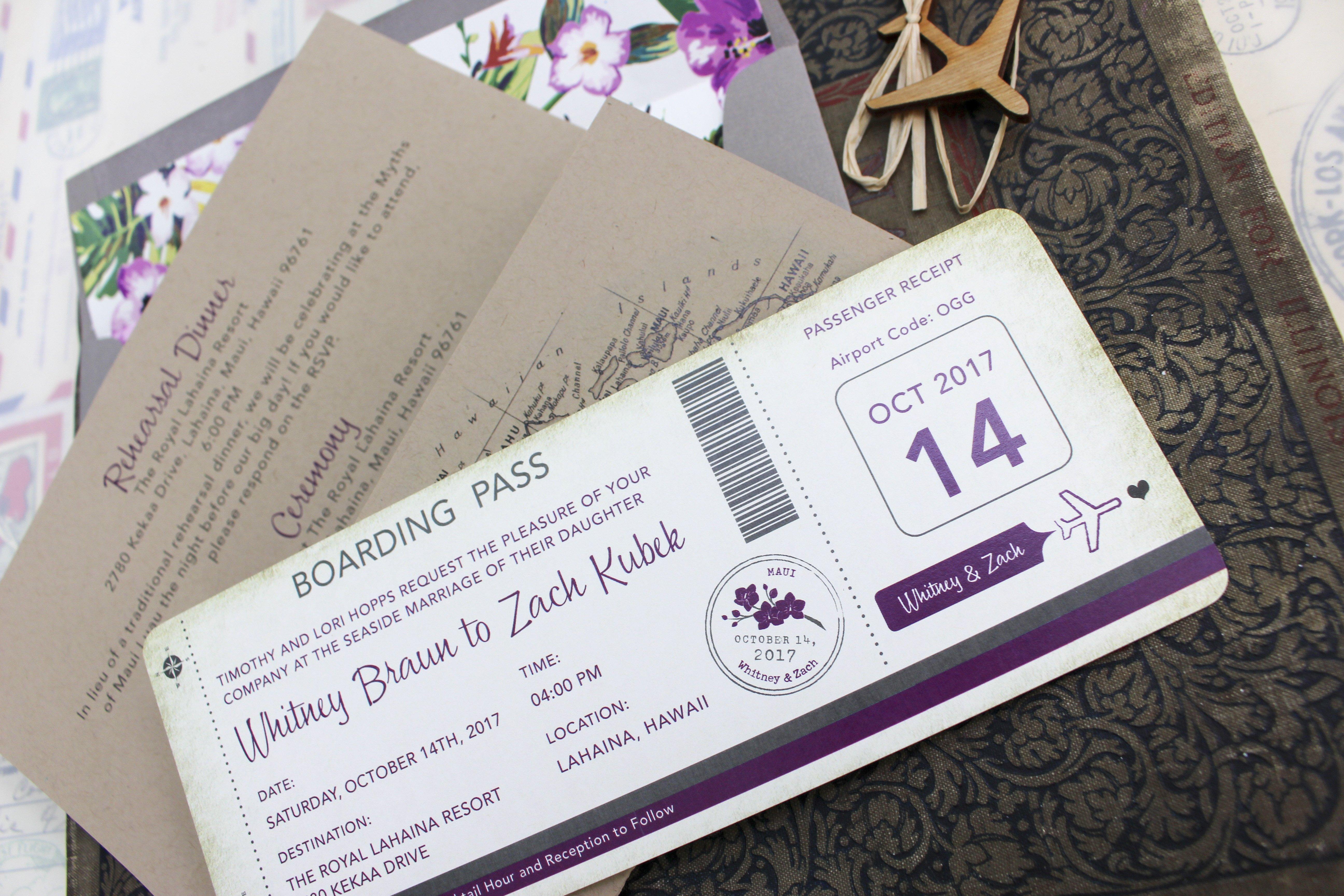 Boarding Pass Wedding Invitations Vintage Floral Boarding Pass Wedding Invitation Maui Hawaii
